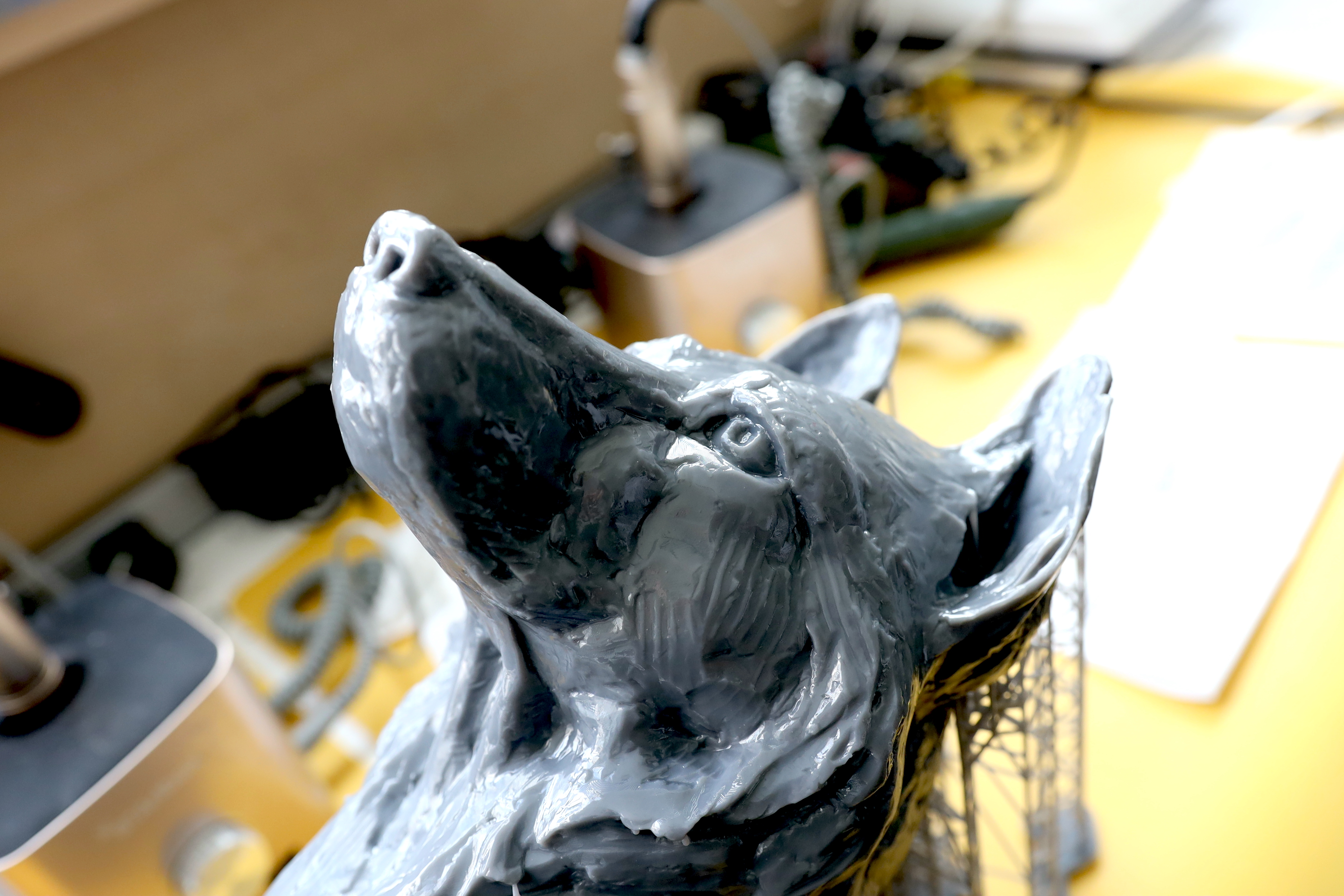 3D Printing Materials - Standard Resin - Makelab - Wolf Head Supports